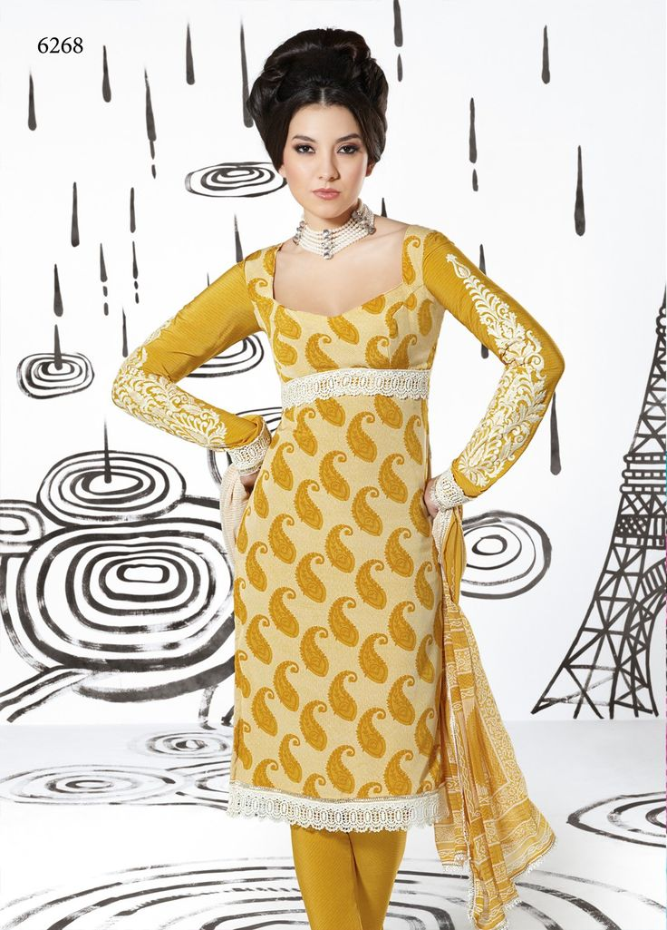 Embroidered #French #Crepe #Suit with Faux Chiffon Duppatta