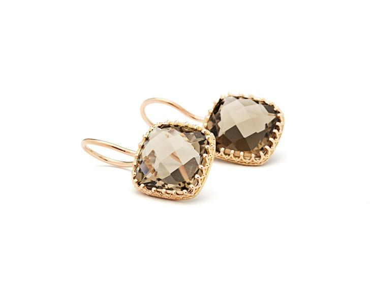 earrings 14 carat rose gold with smokey quartz