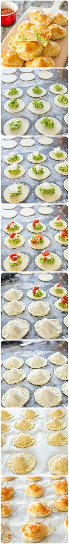 Avocado Mozza Puffs – little puff pastry morsels filled with mashed avocado, fresh mozzarella cheese and salsa.