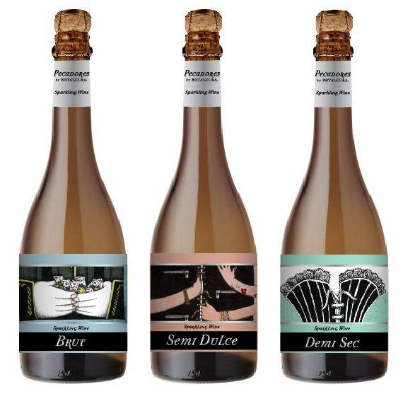 Sparkling Wine Trilogía Pecadores by Botalcura Winery para Wallmart, Lider, Codicia, Soberbia, Lujuria