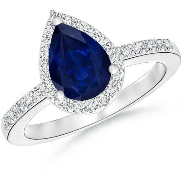 Pear Shaped Sapphire Engagement Ring with Diamond Halo ($386) ❤ liked on Polyvore featuring jewelry, rings, vintage rings, sapphire engagement rings, heart engagement rings, pear cut engagement rings and sapphire band ring