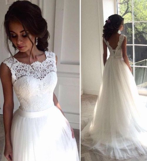 2017 Lace A-line Wedding Dresses Jewel Neck Sleeveless Elegant White Bridal Gowns