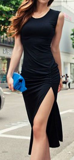 Sexy Side Slid Black Sleeveless Sheath Dress