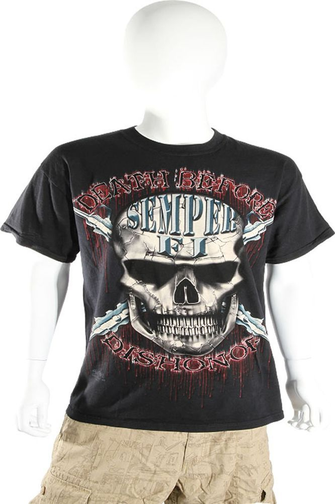 Skulbone Black Death Before Dishonor Skull Tee Short Sleeve T Shirt $20.80 CAD Now 75% OFF