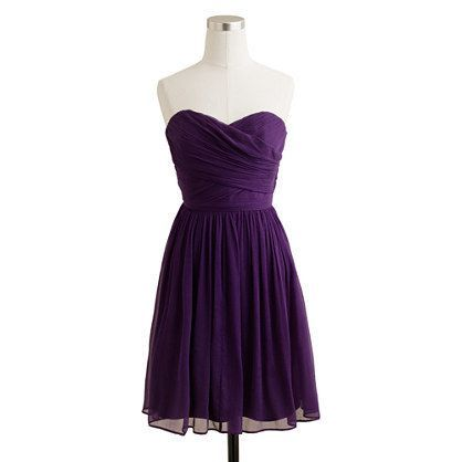 J Crew Dark Eggplant Arrabelle Silk Chiffon Bridemaid Dress sz 6