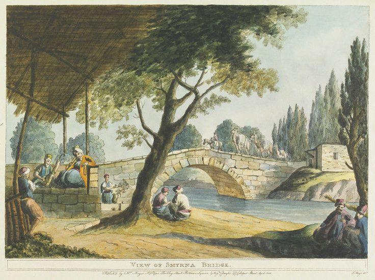 View of Smyrna Bridge   Luigi Mayer   V&A Kemer köprüsü /Kervan Köprüsü/ Caravan Bridge - İzmir the oldest bridge on earth