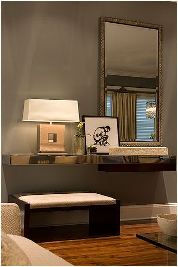 Like mirror and paint color for walls. Think I like actual console table vs floating shelf.