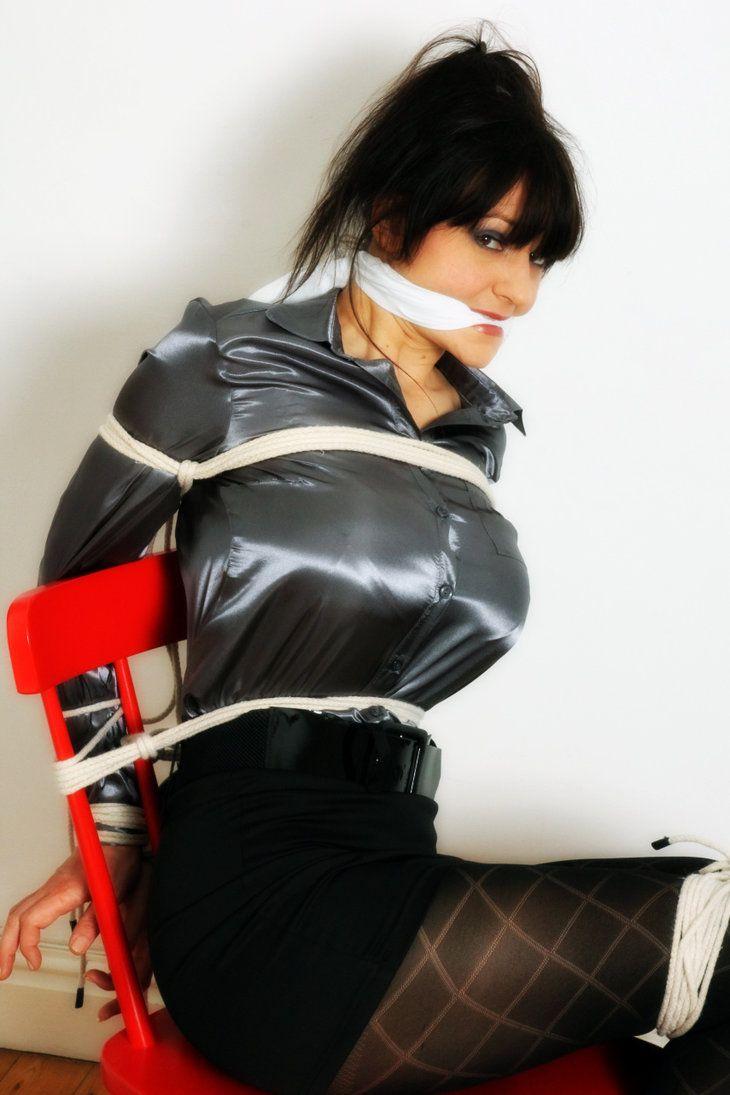 Bondage burglar gagged tied
