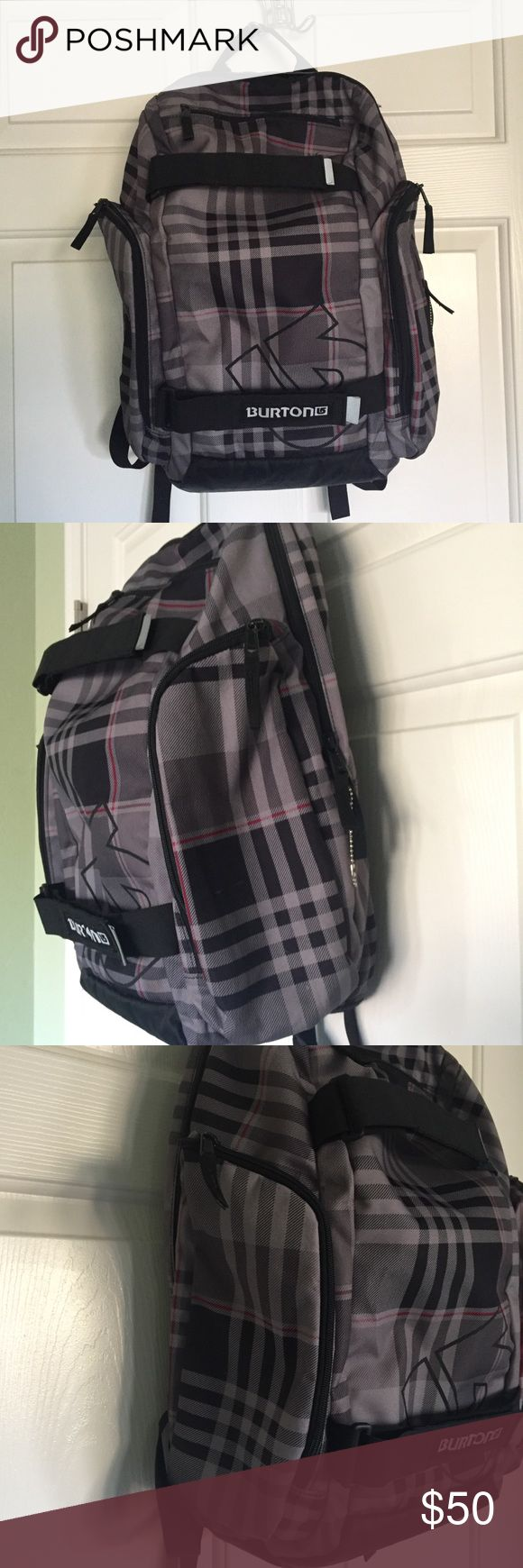 Burton Backpack Gray plaid. Front band. Insulated side pocket. Top pocket. Bag is roughly 20x15. Burton Bags Backpacks