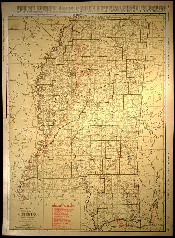 Mississippi Map EXTRA LARGE Mississippi Railroad Map Wall Art | Map ...