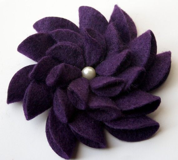 Felt Flower Pin Yellow by tsahdesigns on Etsy