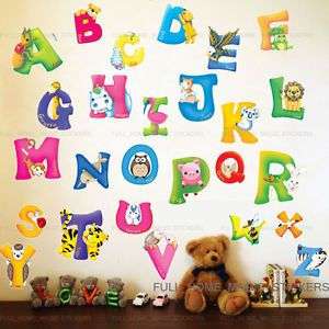 LARGE Animal ALPHABET/LETTER Wall Stickers Nursery Early Learning Baby Kid Decor