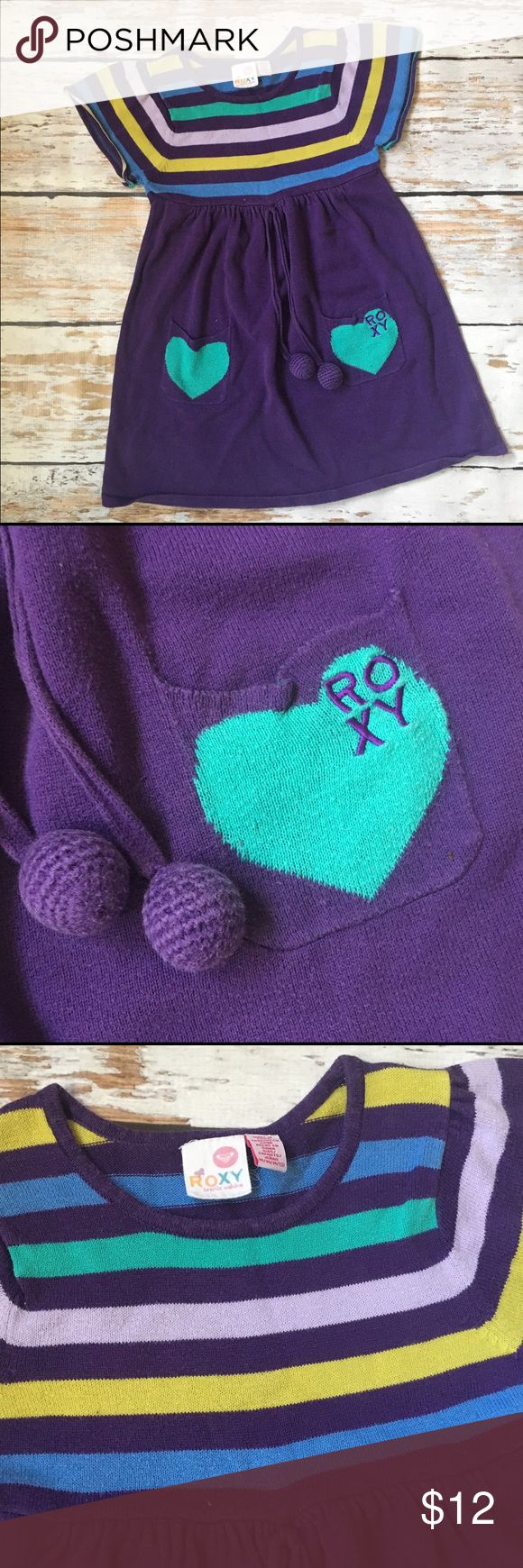 Roxy Girls Sweater Dress size 5 Purple, Cute Roxy Girls Sweater Dress size 5 Purple, Cute adorable sweater dress by Roxy. Plum purple with blue, jade green and lime yellow stripes. Comfy and cute! Roxy Dresses Casual
