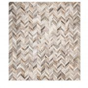 LOCO RUG CARAMEL - A stunning, classic chevron design with a rich gradient of natural colours across the individual pieces of hide within the design.  12 month manufacturing warranty is standard with purchase.