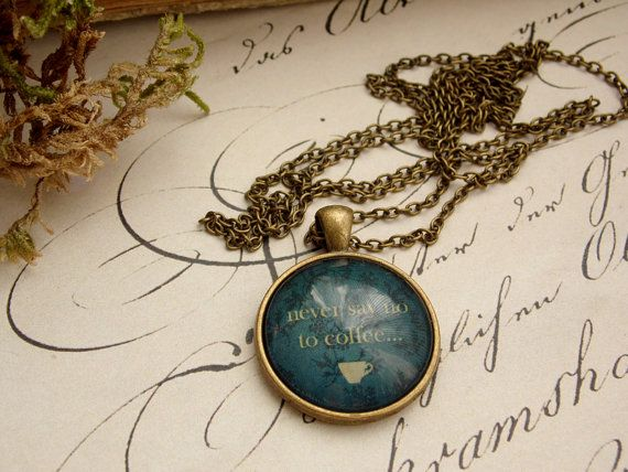 Coffee love necklace, keep calm necklace, coffee pendant, glass dome jewelry, vintage necklace, christmas gift, coffee stains