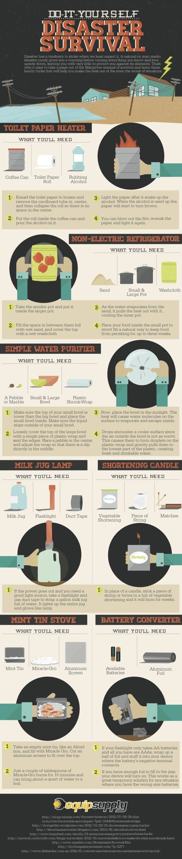 Infographic | Disaster Survival | Improvised Survival Gear | DIY Projects For Preppers