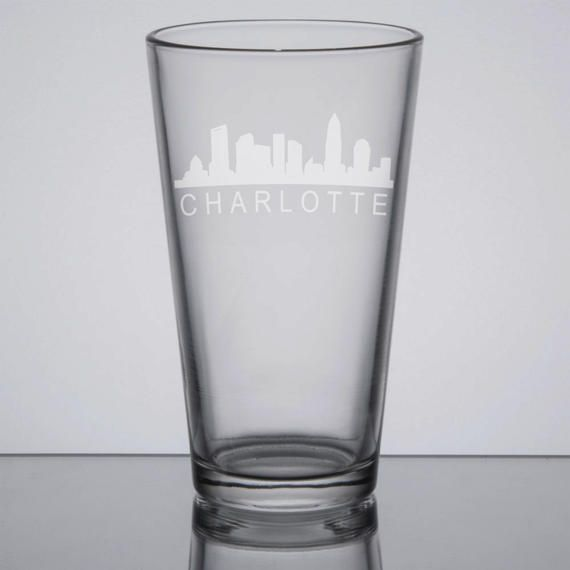 Charlotte Skyline Pint Glass, North Carolina Pint Glass, 16 oz Beer Glass, Home City Glass, Etched Pint Glass, Sandblasted Glass by GrayFoxTradingCo on Etsy
