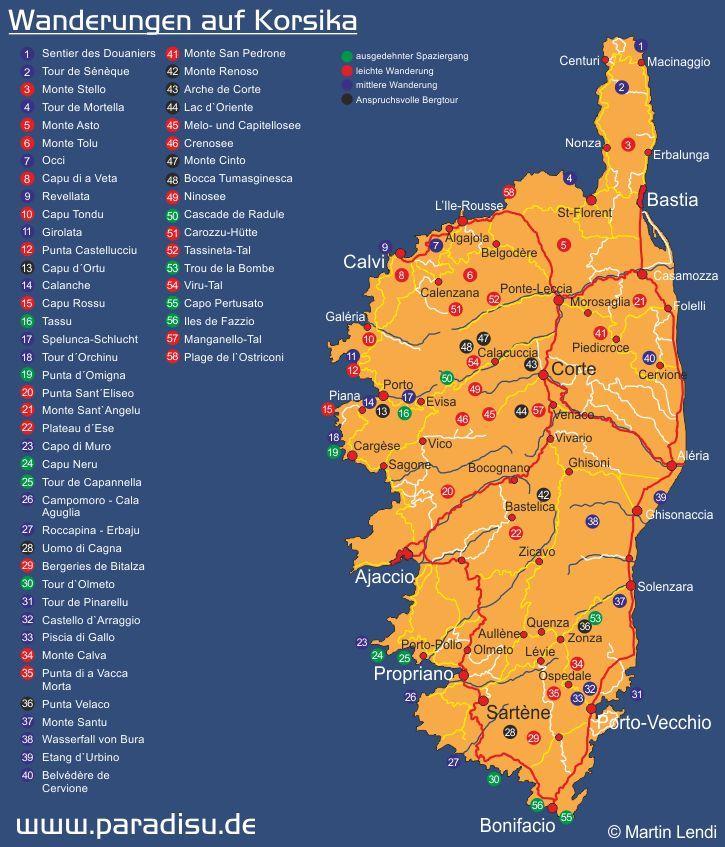 Wanderungen auf Korsika - Karte