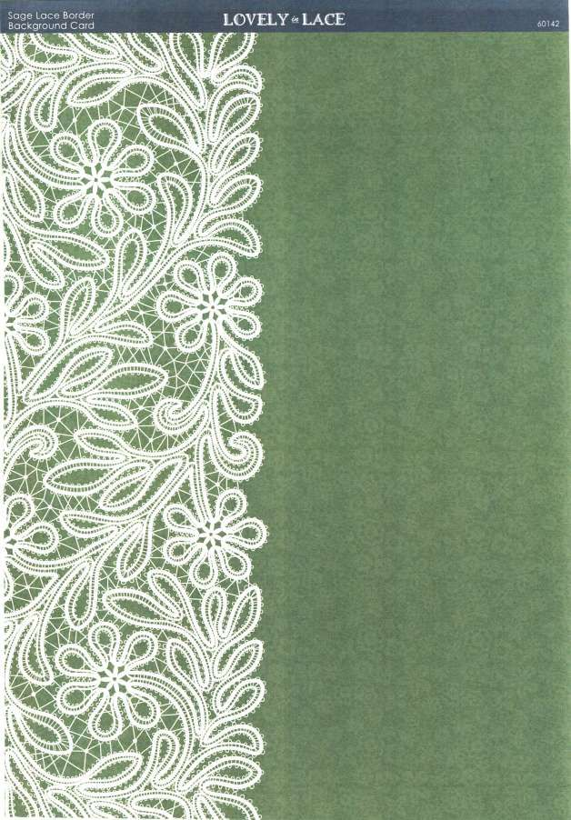 Kanban Crafts - Lovely in Lace - printed background card - Sage Lace Border