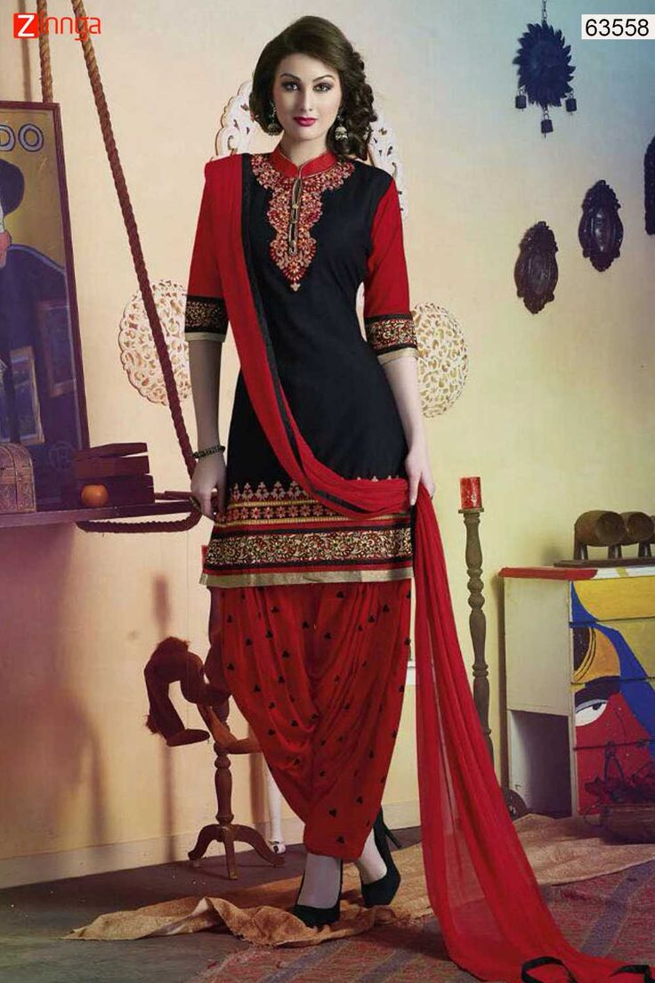 Patiala Style Red & Black with Patch Work Incredible Unstitched Salwar Kameez. Message/call/WhatsApp at +91-9246261661 or Visit www.zinnga.com