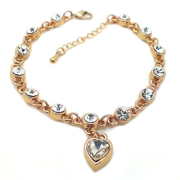 Beora Rose Gold Plated White Heart Pendant Crystal Chain Bracelet Bangle @ Trendymela.com