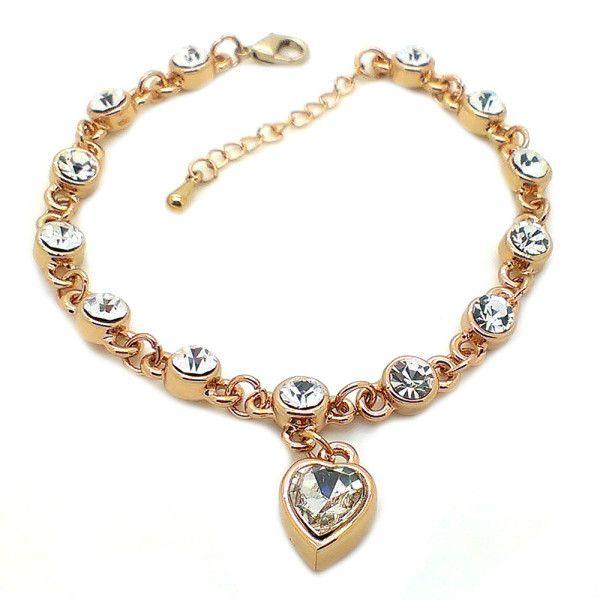 Beora Rose Gold Plated White Heart Pendant Crystal Chain Bracelet Bangle @ Trendymela.com