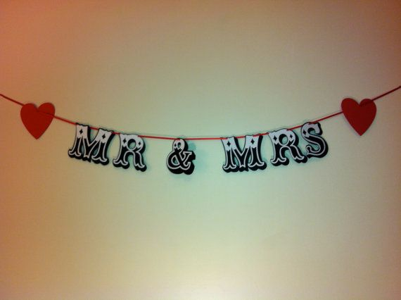 Mr and Mrs Vintage Carnival Wedding Banner by PinkPomPaperBoutique, $15.00