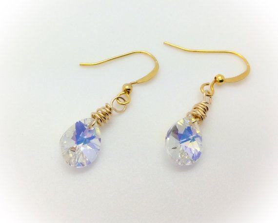 Crystal AB Swarovski crystals earrings wire by AGDesignCreatif