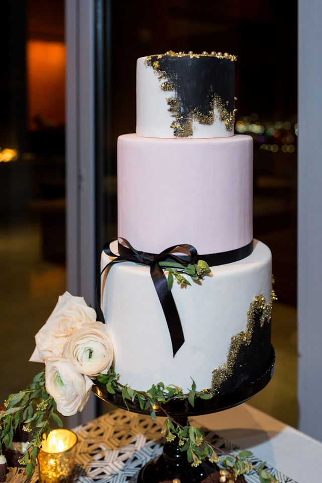 Blush pink, black and gold glitter wedding cake | Cavin Elizabeth Photography