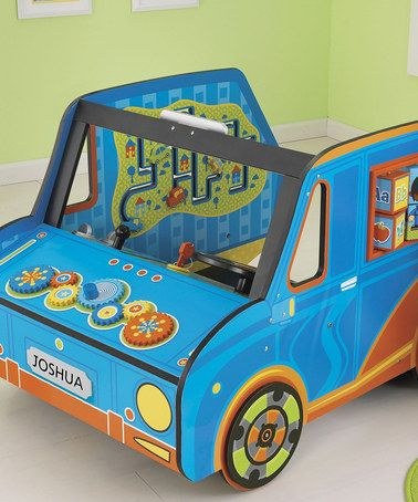 Giant activity cube / play furniture! This Blue Personalized Activity Truck has tons of mazes, puzzles, bead mazes and games for sensory play and fine motor skills. It's all big enough to sit in and pretend play driving! Steering wheel, rear view mirror, key, gear shift and more! Cute toy car for the boys room! By KidKraft