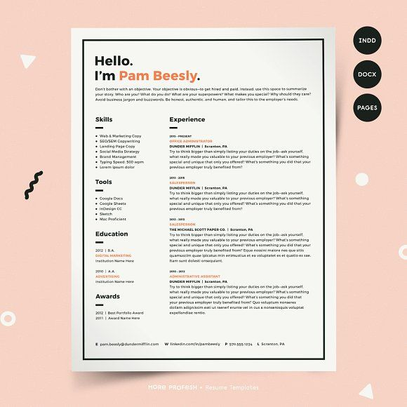 resume template cv kit by more profesh on