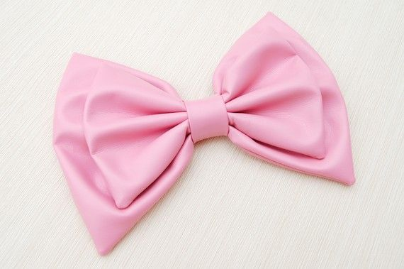 Pink faux leather hair bow
