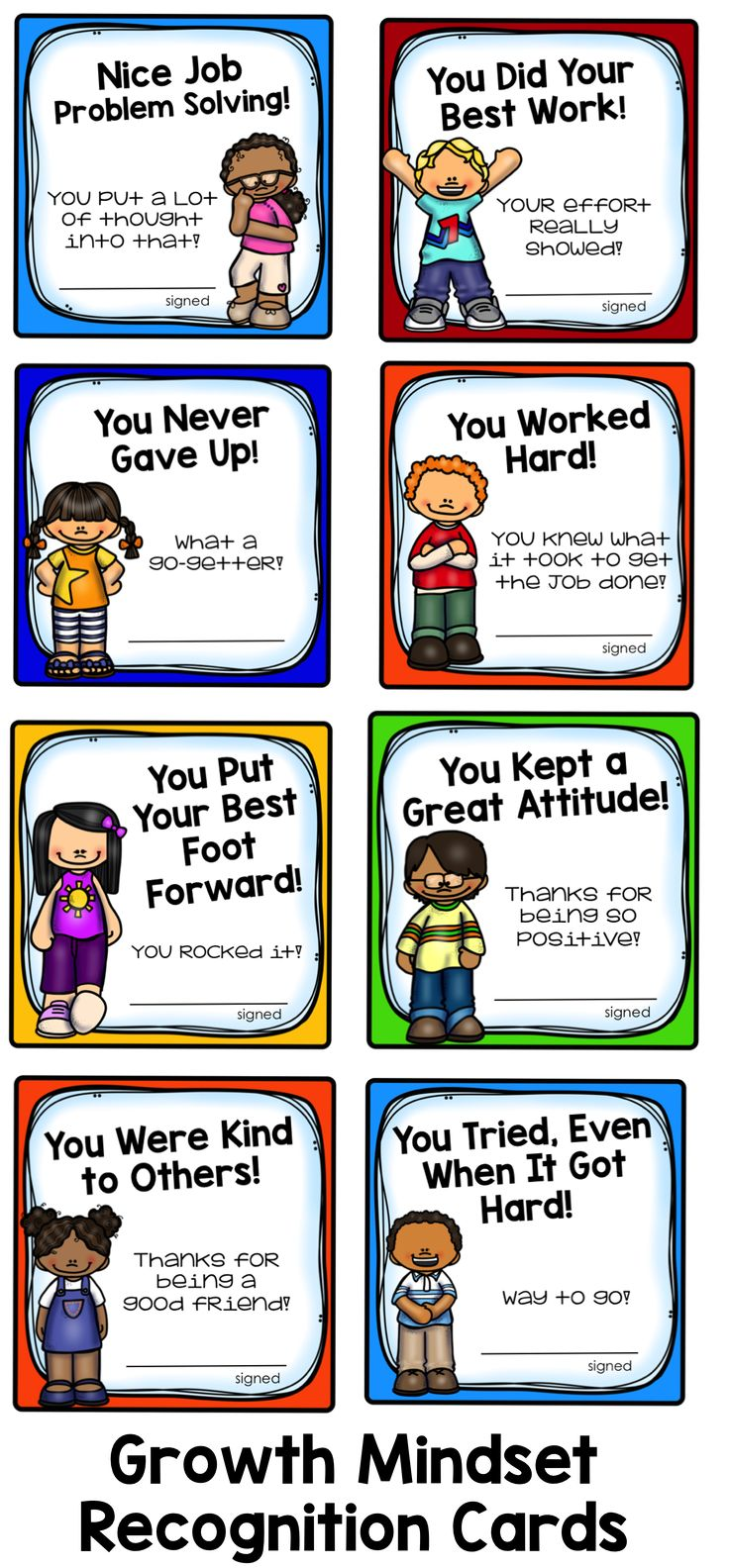 Growth Mindset Recognition Cards: Honor the positive things your students are…