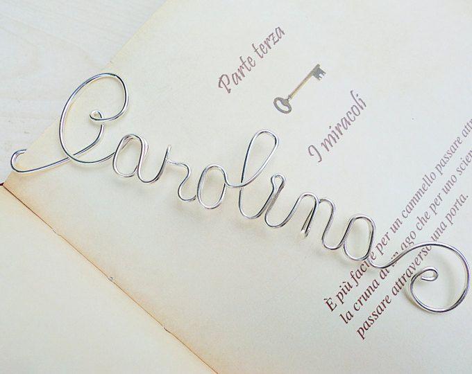 Marcador personalizado en hilo de plata, nombre personalizado o palabra, ideas de regalos hechos a mano