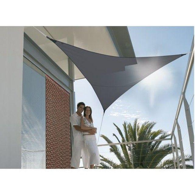Voile d'ombrage triangulaire 3,60 x 3,60 x 3,60 m - Ardoise JARDIDECO