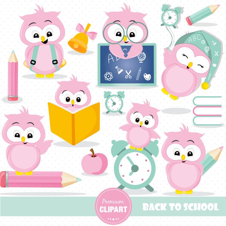 School owl clipart Owls clip art Back to school Girl