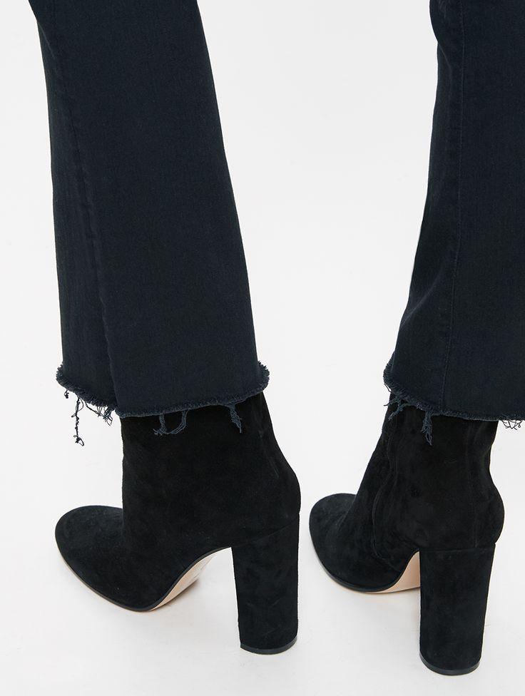 Mother Denim | black cropped flare jean with frayed hem