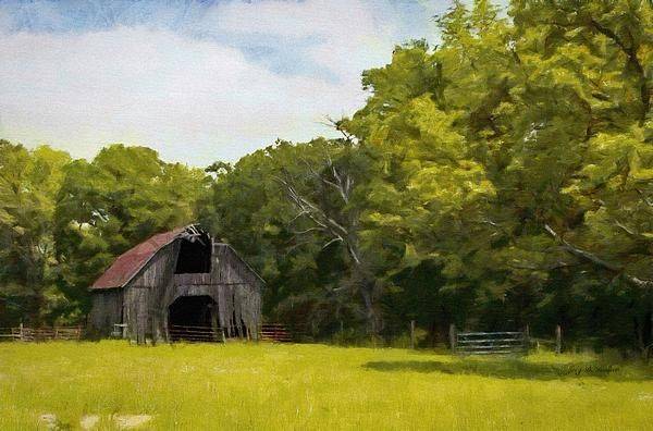 Rustic, run down barn, in rural Oklahoma. Painting by Jeff Kolker