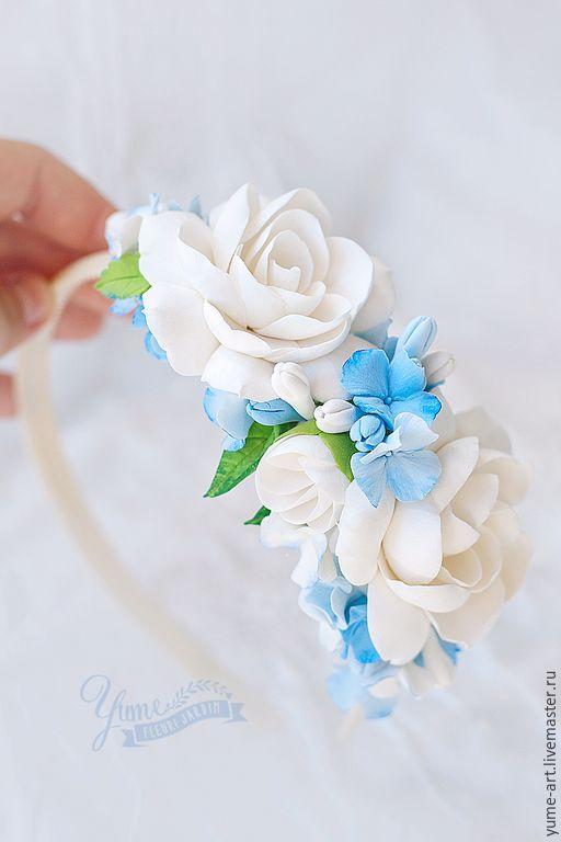 Купить Ободок с цветами из полимерной глины с гарденией и гортезией - ободок для волос, ободок с цветами