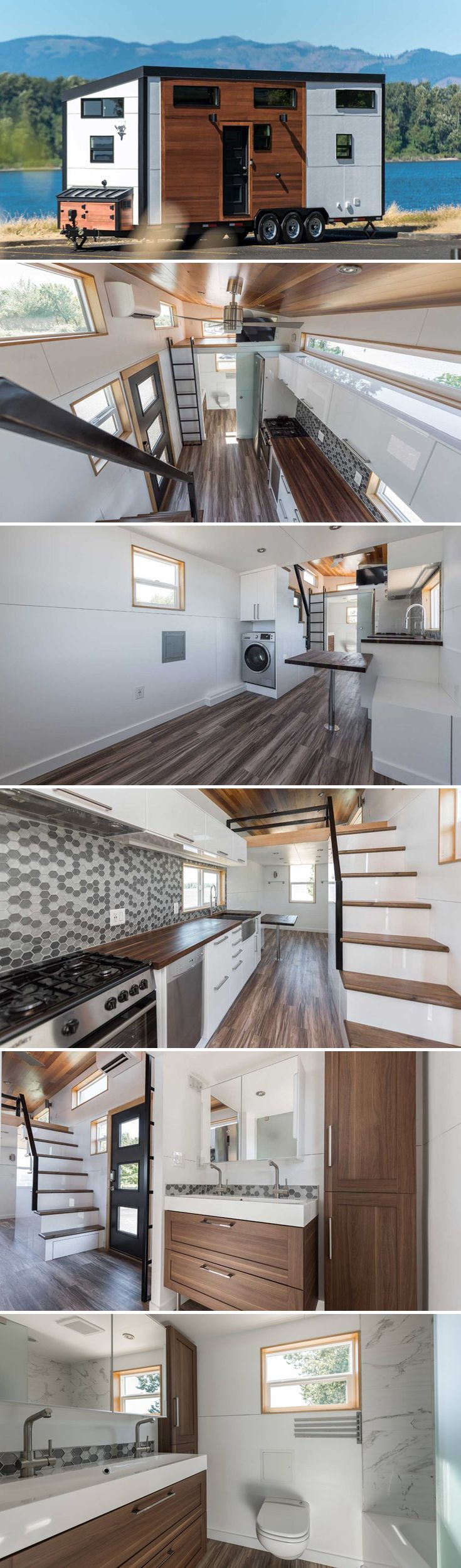 The Catalina is the first model home from Tiny Innovations, located in Gresham, Oregon. The modern 317-square-foot tiny house has a bright, airy interior.
