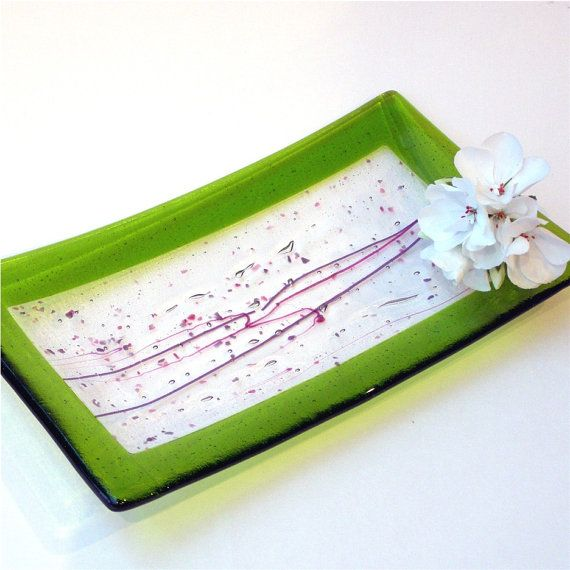 Fused Glass Plate - Green and Clear Glass with Pink and Purple Accents - Home Kitchen Decor on Etsy, $28.00