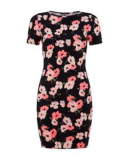 Teens Blue Neon Floral Print Bodycon Dress    New Look