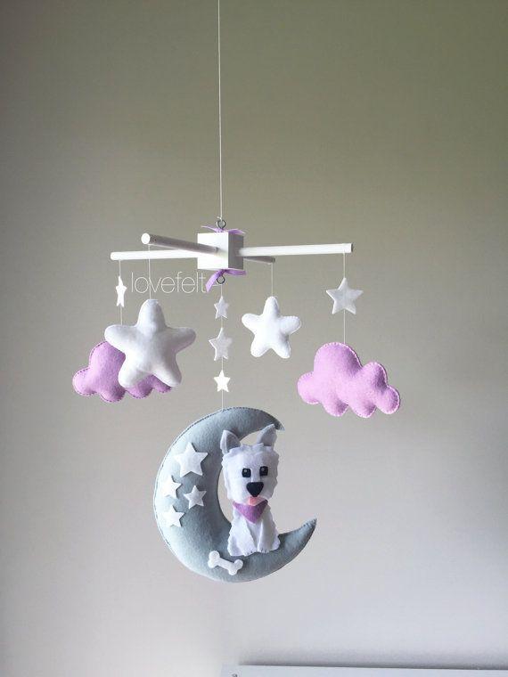 Baby mobile - Dog mobile - Baby Crib Mobile - Baby Mobile dog - puppy Mobile - lavender and gray mobile - lavender and gray nursery