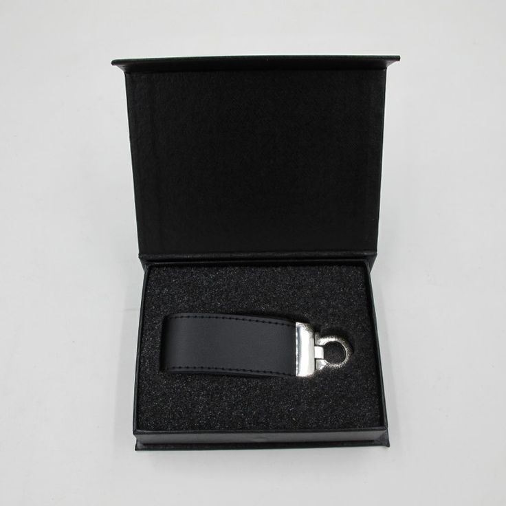 Black leather USB flash disk keychains in a black paper box