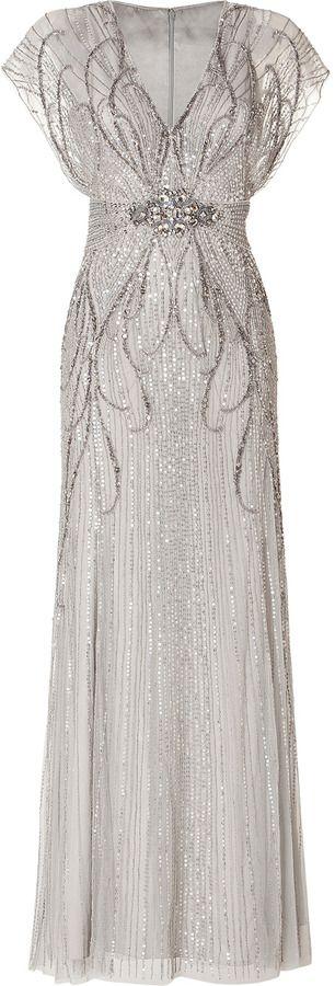 Jenny Packham Sequin Embellished Gown in Platinum on shopstyle.com
