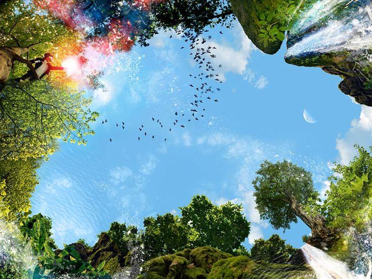 Wolkenplafond fotodesign: 'Waterval' Wolken foto met verlichting op grootformaat