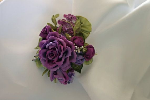 Hair Accessory Floral Pin Ribbonwork Applique by AddABloomBoutique, $46.50