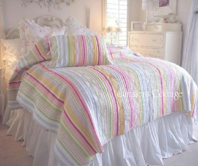 Pink Blue White Yellow And Green Stripe Chic Twin Quilt