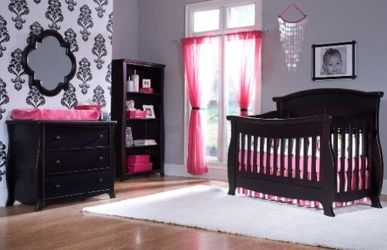 Love The Wall And Black And Pink For Mercedes Room As She Gets Older Twin Nursery Pinterest