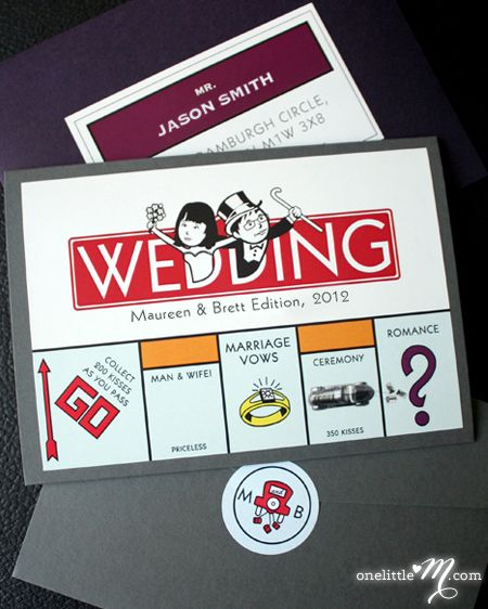 69 best wedding invitation ideas images on pinterest invitations pocket monopoly monopoly board game themed invitation sample only price is not full order per unit price see description fandeluxe Images